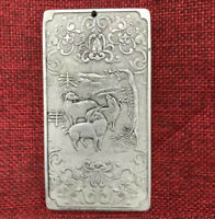 Old Chinese Tibet Silver 12 Zodiac Year animal Sheep Goat Thanka Amulet Pendant