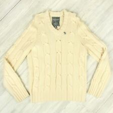 Abercrombie & Fitch Cashmere Blend Cable Knit V Neck Sweater Mens Size XL