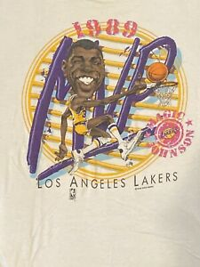 Vintage 1989 caricature Magic Johnson MVP T-Shirt XL LA Lakers Basketball NBA