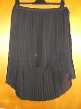 Saint Tropez Semi-Sheer Fully Lined Mullet-Hem Pleated Skirt M UK 12 Black BNWT