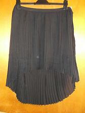 Saint Tropez Semi-Sheer Fully Lined Mullet-Hem Pleated Skirt M UK 12 Black BNWT