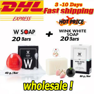 40 Bars x W Soap + Wink White Soap Pure G l u t a Whitening Cleansing Face Body