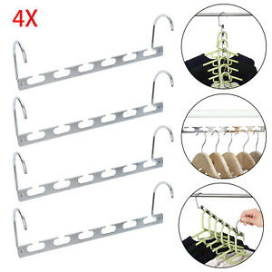 4PCS Space Saver Closet Organizer Storage Coat Clothes Hanger Magic Hook Metal