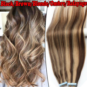 Seamless Tape in Hair Extensions Skin Weft Brazilian Remy Human Hair Highlight A