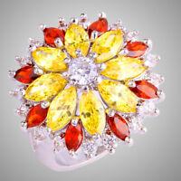Noble Flower Citrine Garnet White Topaz Gemstone Women Creative Gift Silver Ring