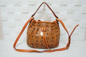 100% Authentic MCM Visetos Cognac Medium Drawstring 2 Ways Shoulder Bucket Bag