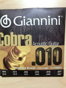 Giannini Cobra Series Phosphor Bronze 12 StringAcoustic Guitar Strings .010-.047