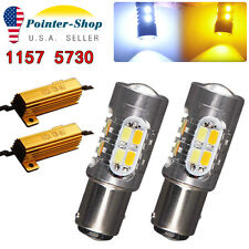 2x White/Amber Switchback 1157 20-SMD LED Lamps Turn Signal 1142 7528+Resistors