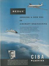 1953 Ciba Redux Aviation Plastics Ad de Havilland Comet & Bristol Britannia