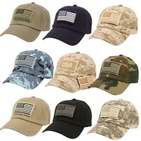 Camouflage Constructed Special Tactical Operator Forces USA Flag Patch Hat Cap
