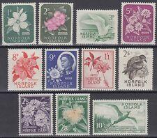 Norfolk 1960 ** Mi.26/36 Vögel Birds Blüten Blossoms Flora [sq6535]