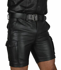 REAL Leather  Cargo Shorts,Trousers,Color Black,Combat leather Shorts,lederhose