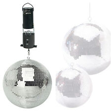 "SoundLAB Lightweight Silver Mirror Dance Disco Party DJ Ball 250mm 10"" and Motor"