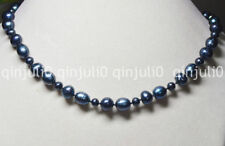 Charming! 5-6mm & 9-10mm Black Tahitian Natural Pearl Necklace 18'' JN671