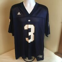 Adidas Mens Football Jersey Notre Dame #3 Jersey Large Blue Printed Free Ship!