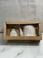 "Rae Dunn NEW ""Tea Pot & Honey Jar"" Set with Wooden Honey Spoon Gift Set Box Bow"