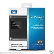 WD WESTERN DIGITAL MY PASSPORT BLACK 3TB EXTERNAL PORTABLE HARD DRIVE DISK HDD