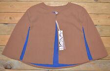 New Womens Caramel Brown Sleeveless Lined Short Cape Jacket Bolero UK Size 8 -10