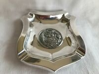 ANTIQUE AMERICAN STERLING SILVER A T GUNNER ASHTRAY SHIELD PERU COAT OF ARMS