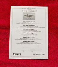 1:48 Franklin Mint Armour Collection F-18 Hornet Blue Angels (98013) Info Sheet
