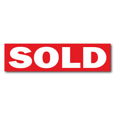 "SOLD Real Estate Sign Stickers 11.5"" x 3"" Weatherproof Vinyl, Red, Pack of 25"