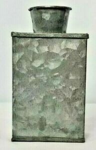 """RUSTIC METAL BUD VASE DECORATIVE COUNTRY 5"""" x 3"""" x 1 3/4""""  BRAND NEW"""