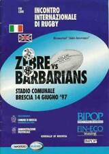 Zebre v Barbarians 14 Jun 1997 Brescia, Italy RUGBY PROGRAMME