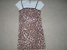 Girls Size 8 JUSTICE Brown ANIMAL PRINT Ruffle Short Sleeve Dress EUC