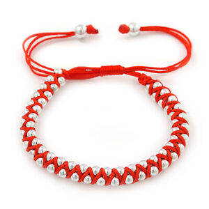 Plaited Bright Red Silk Cord With Silver Tone Bead Friendship Bracelet -
