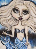 Fantasy Art Ice Mermaid 13 x 19 Print Big Blue Eyes Platinum Blonde Underwater