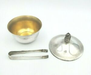 ANTIQUE TIFFANY STERLING SILVER SACCHARIN BOWL W/ TONGS  #11173