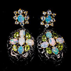 7x5mm Beauty Rainbow SET Opal Earrings Silver 925 Sterling   /E57929