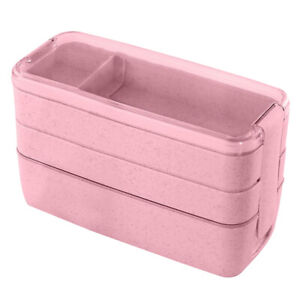 School Lunch Containers Box Meal Prep Bento Box 3-in-1 Compartment Leakproof