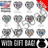 *Choose* Authentic Pandora SIGNATURE HEART Birthstone Charm +Bag Silver S925 ALE