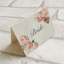 Wedding Table Guest Place Name Cards - Pink rose Vintage style - set of 10