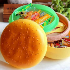 Children Hamburger Bento Lunch Box Food Container Storage with Spoon Fork A@GS