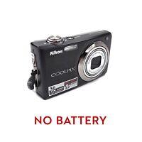 Nikon COOLPIX S630 12.0MP Black Digital Camera **NO Battery** Tested & Working