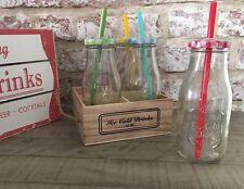 Set di 6 Coperchi in Vetro Bottiglie di Latte Cannucce In Legno Cassa in scatola Party Cocktail