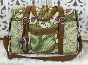 FOSSIL Key-Per Green Multicolor Canvas Floral Duffle Travel Tote Shoulder Bag