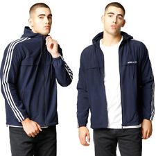 adidas Originals Mens 3 Stripe Windbreaker Retro Hooded Jacket Lightweight Coat