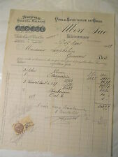 1929 FACTURE VINS LUNERAY TIMBRE FISCAL RHUMS