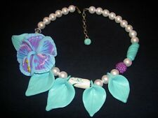 Flower Leaf Lucite Crystal Necklace Vintage Miriam Haskell Style Pearl Turquoise