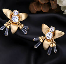 NEW Art Deco Bee Insect Vintage Style Gold & Crystal Rhinestone Stud Earrings