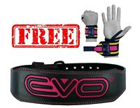 "EVO 4"" Ladies Pink Pure Leather Gym Belts Weightlifting Back Support Strap"