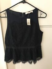 Brand New Ann Taylor Loft Women's Lace Blouse Sleeveless Black/Navy Petite 6P