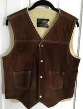 Vintage Sears Leather Shop Suede Vest Men M Dark Brown Sherpa Lining Snap Front