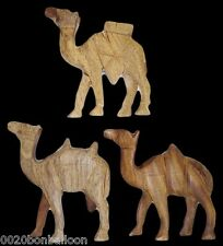 3 Pcs Egyptian Hand Made Wooden Camel Hand Crafted Animal Figurine Sculpture 229