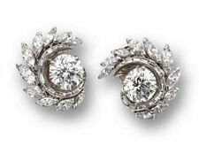 Solid 925 Sterling Silver Precious Diamond Studs With Baguette Diamonds 1.74 ct
