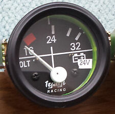 16-32 VOLTMETER CAR VAN TRUCK 52MM CHROME DIAL GAUGE UNIVERSAL CLOCK 24V