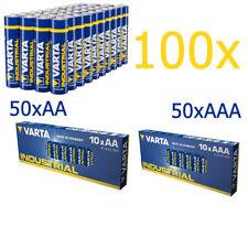 100er SPARSET 50x Micro AAA + 50 x AA Mignon Batterie Alkaline VARTA Industrial